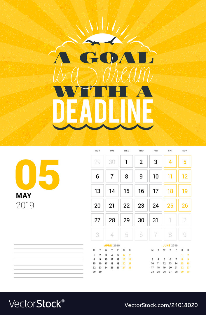 Wall calendar template for may 2019 design print