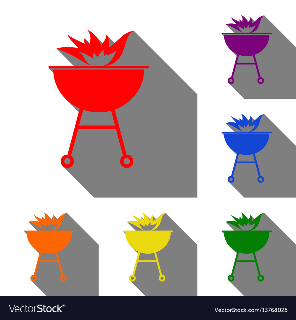 Barbecue with fire sign set of red orange
