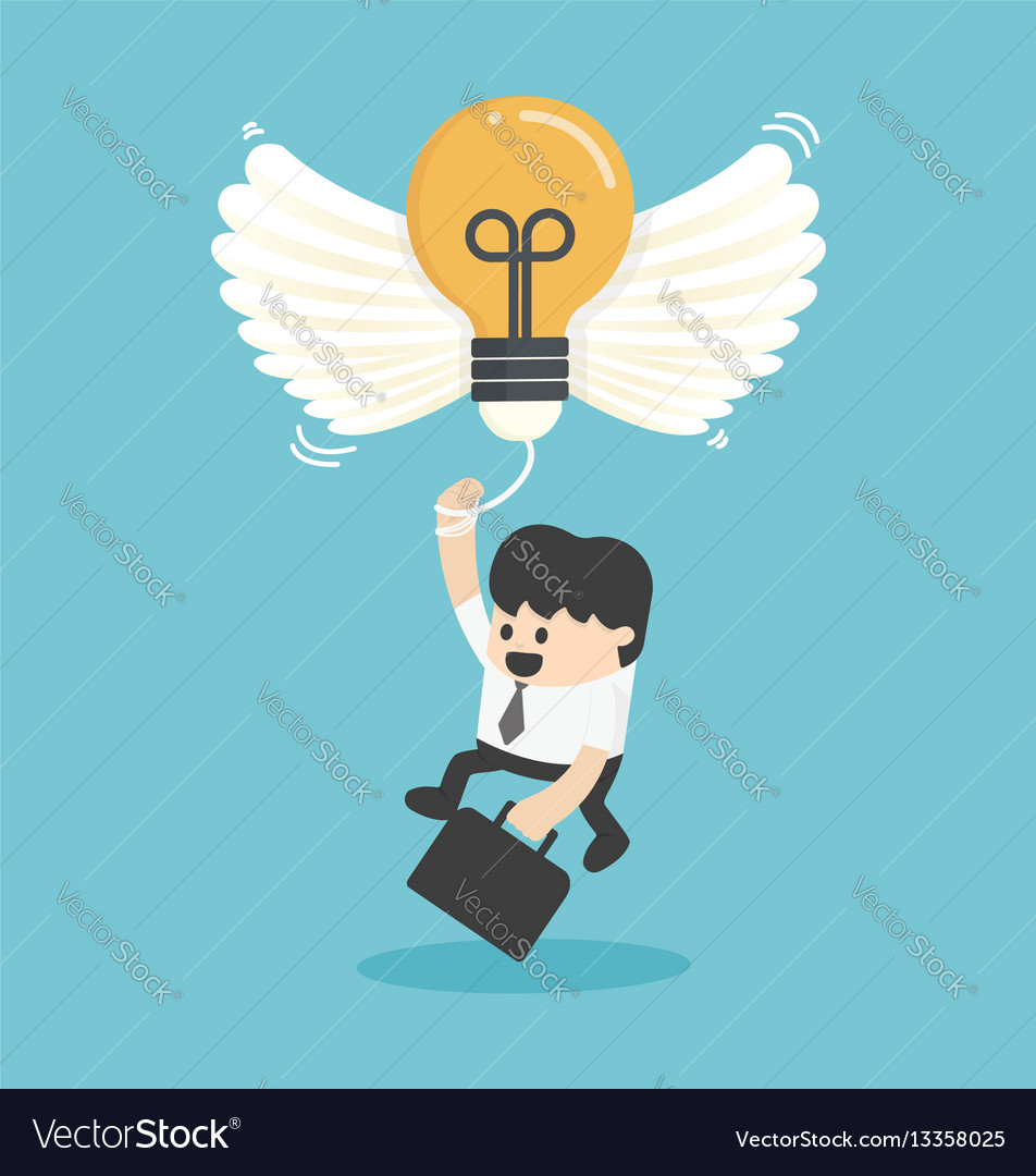 Businessman flying with new idea