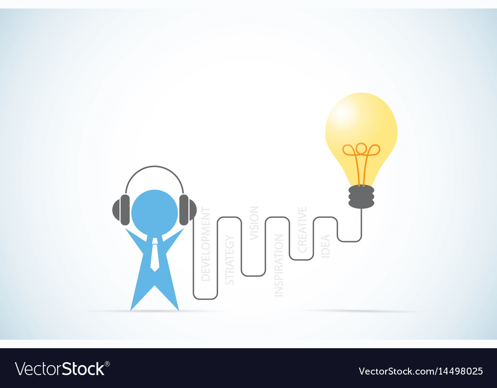 Businessman with headphone and lightbulb idea
