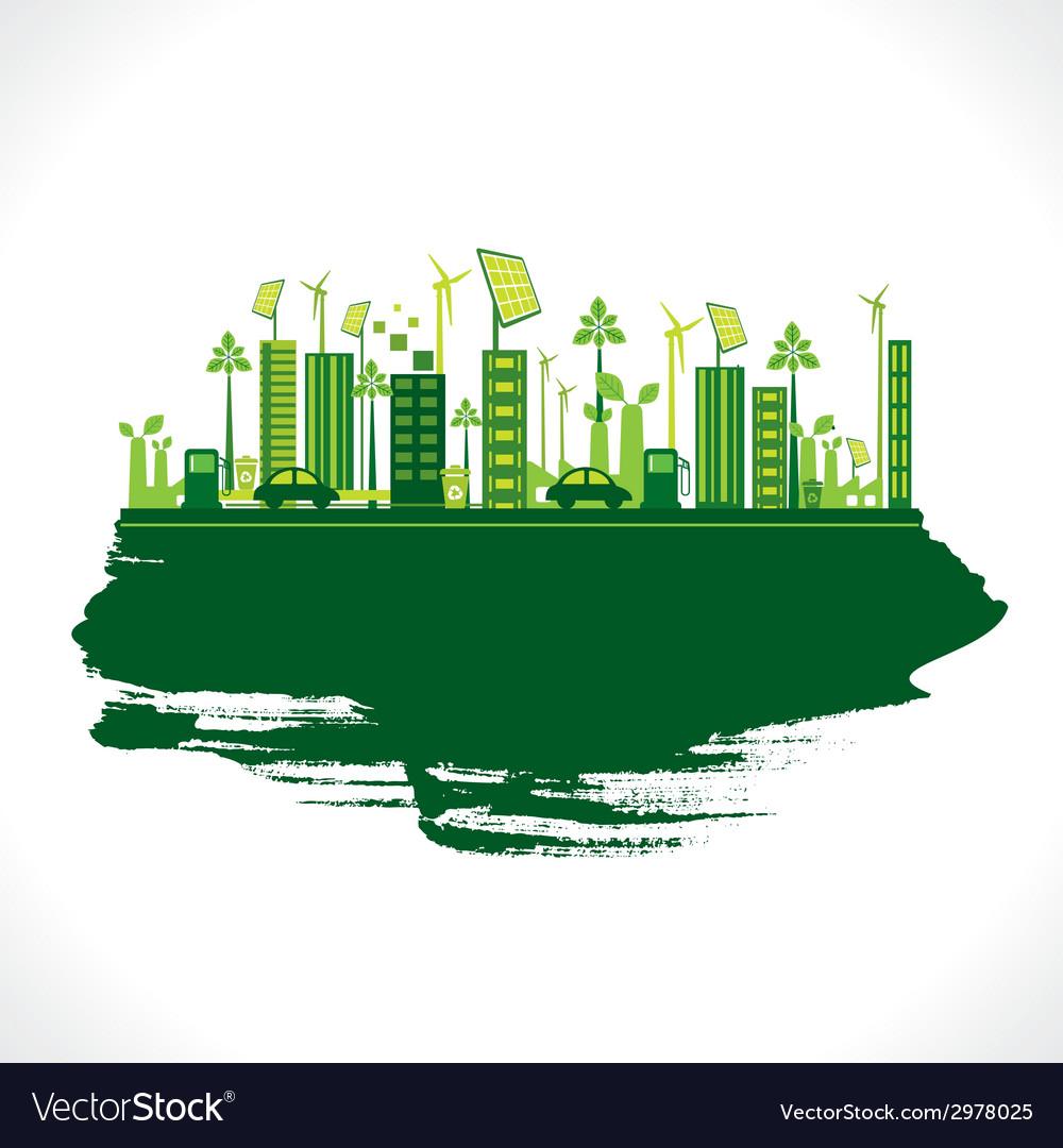 Creative design go green or save earth design vector image