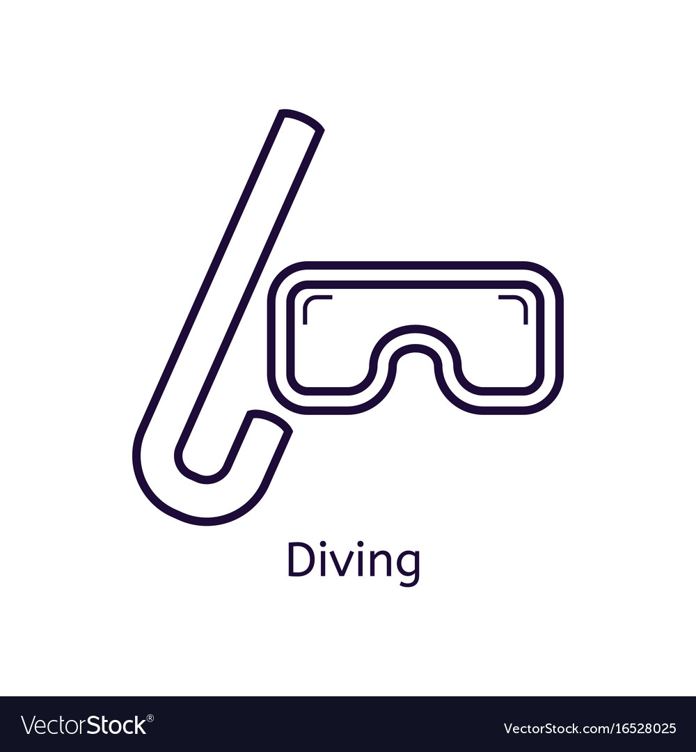 Icon of diving mask on a white background