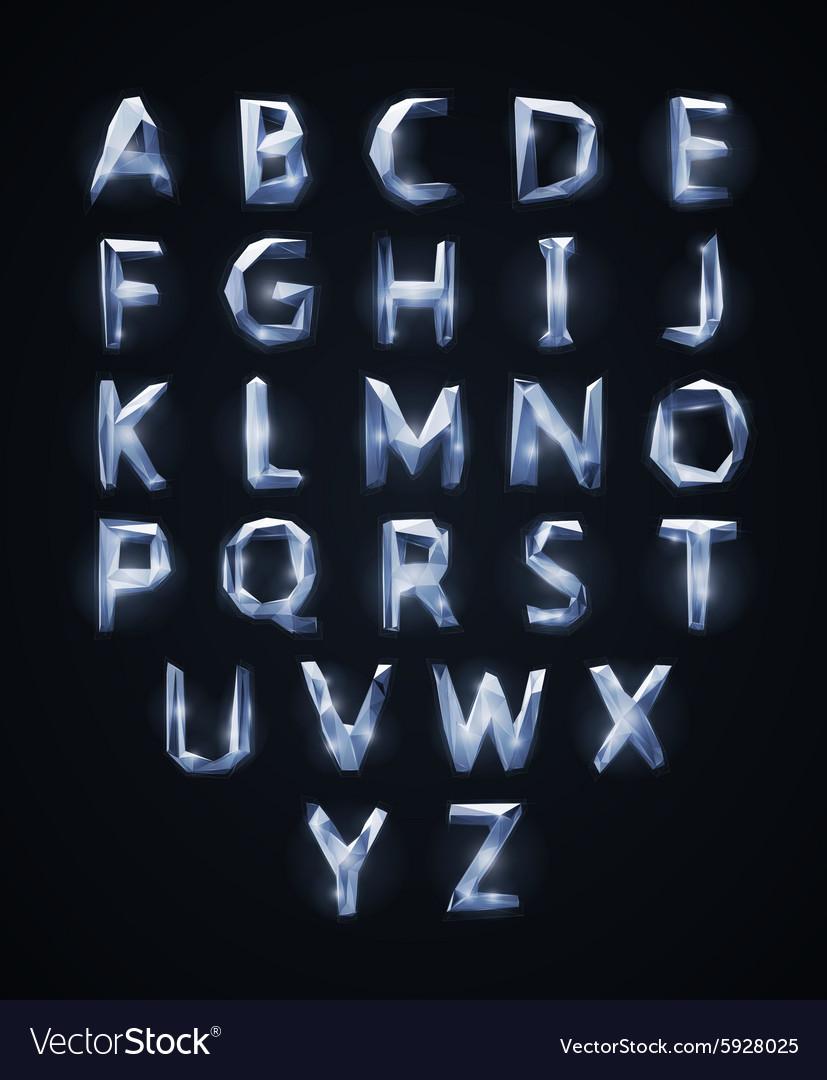 Low poly cristal alphabet font