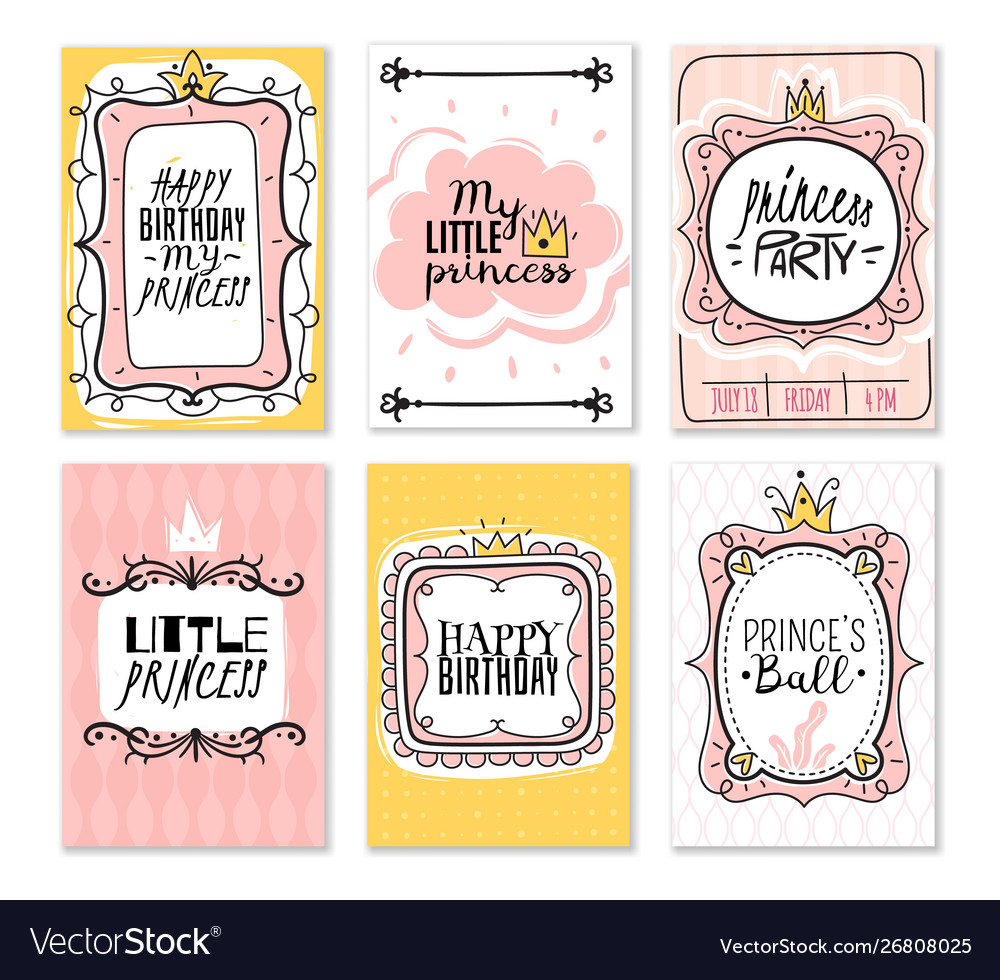 Princess cards vintage cute pink frame with gold