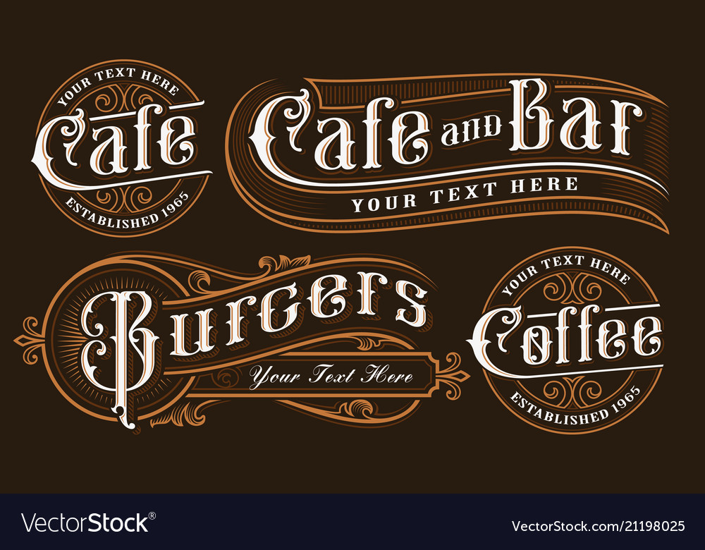 Set of vintage lettering of catering