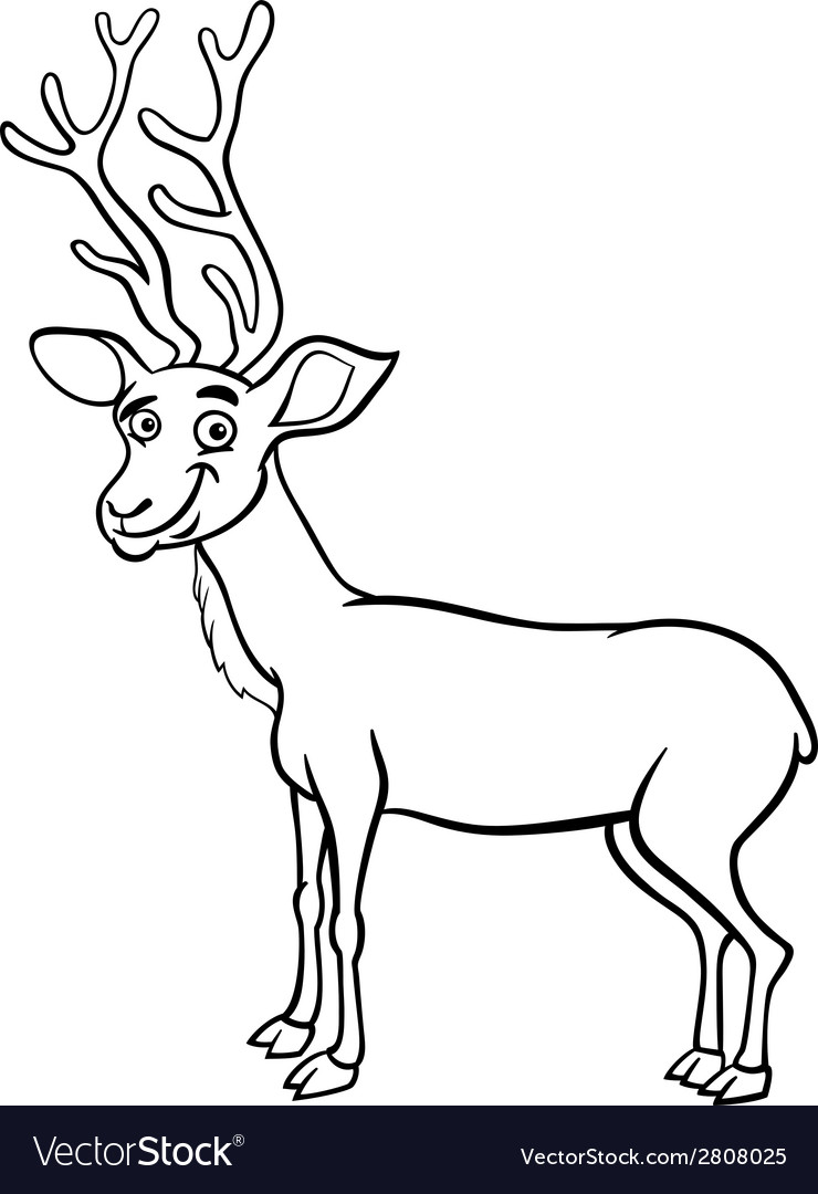 Wapiti deer cartoon coloring page Royalty Free Vector Image