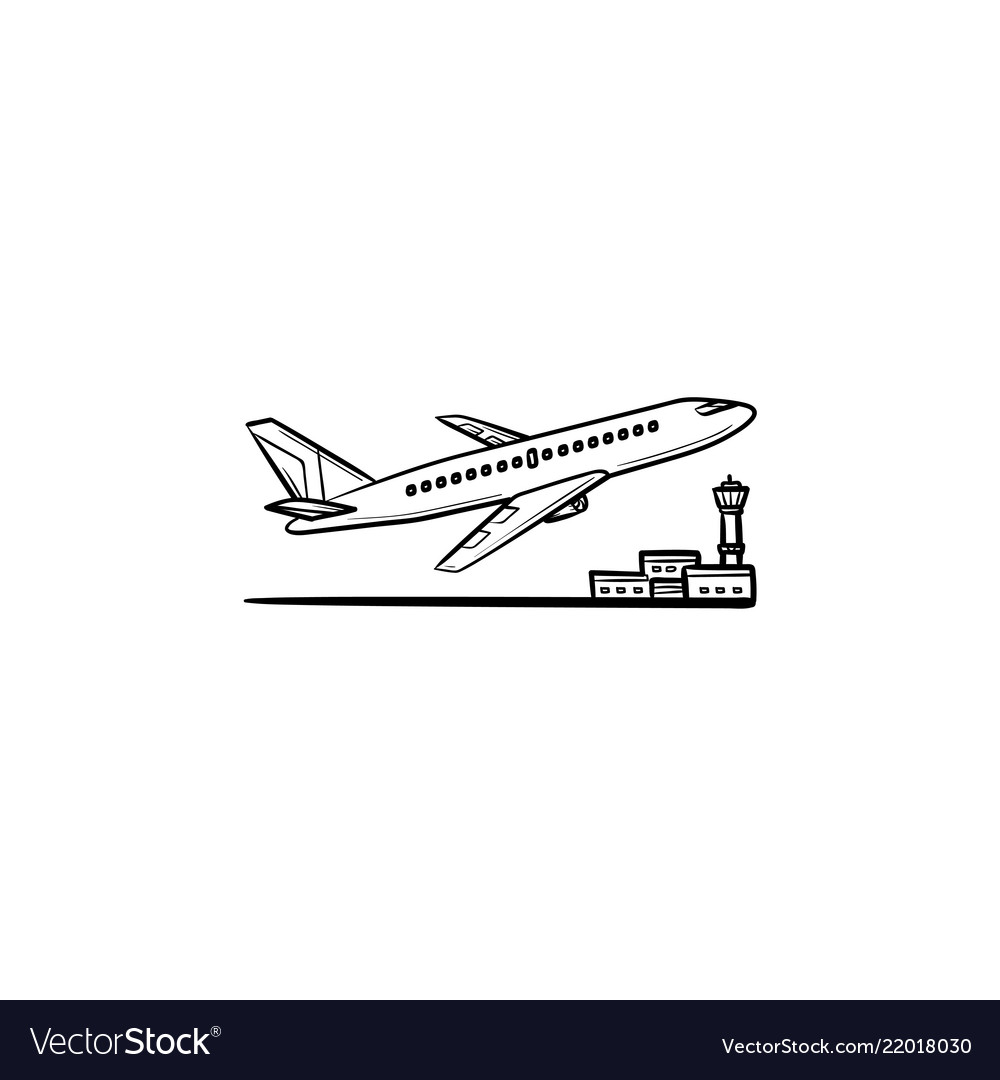 Airplane taking off hand drawn outline doodle icon