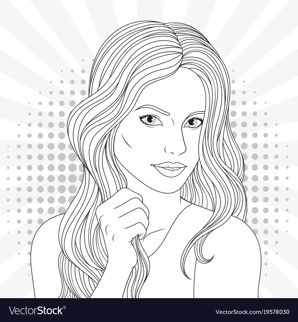 Coloring Pages For Girls: Beautiful Girl Coloring Pages Royalty Free Vector Image