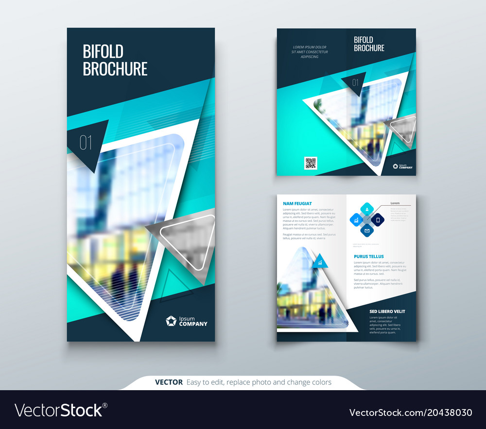Bifold Brochure Design Teal Template For Bi Fold Vector Image