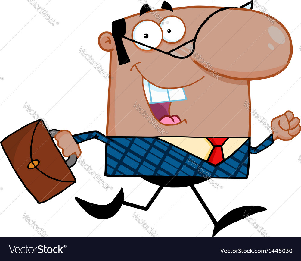 Business Man Running To Work vector image
