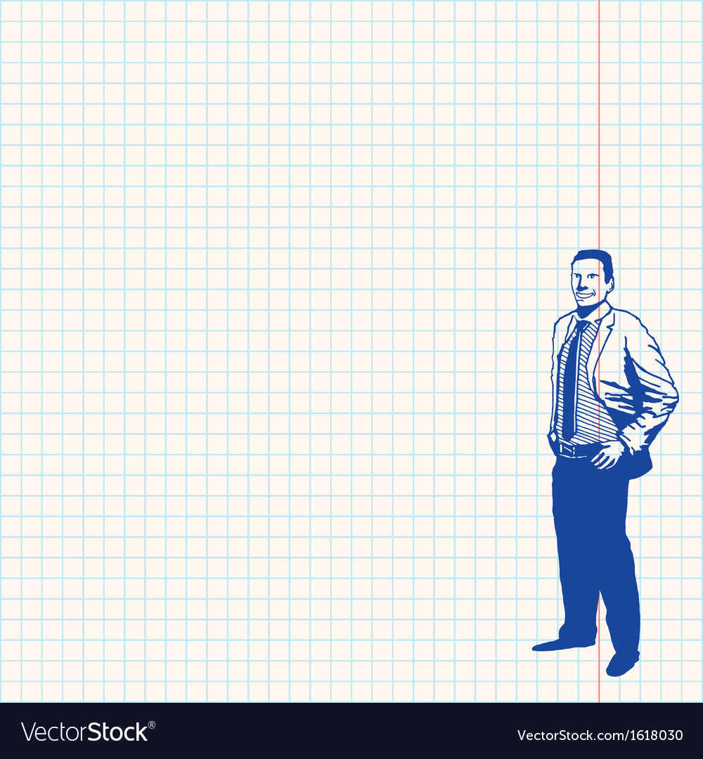 Businessman on grid paper vector image