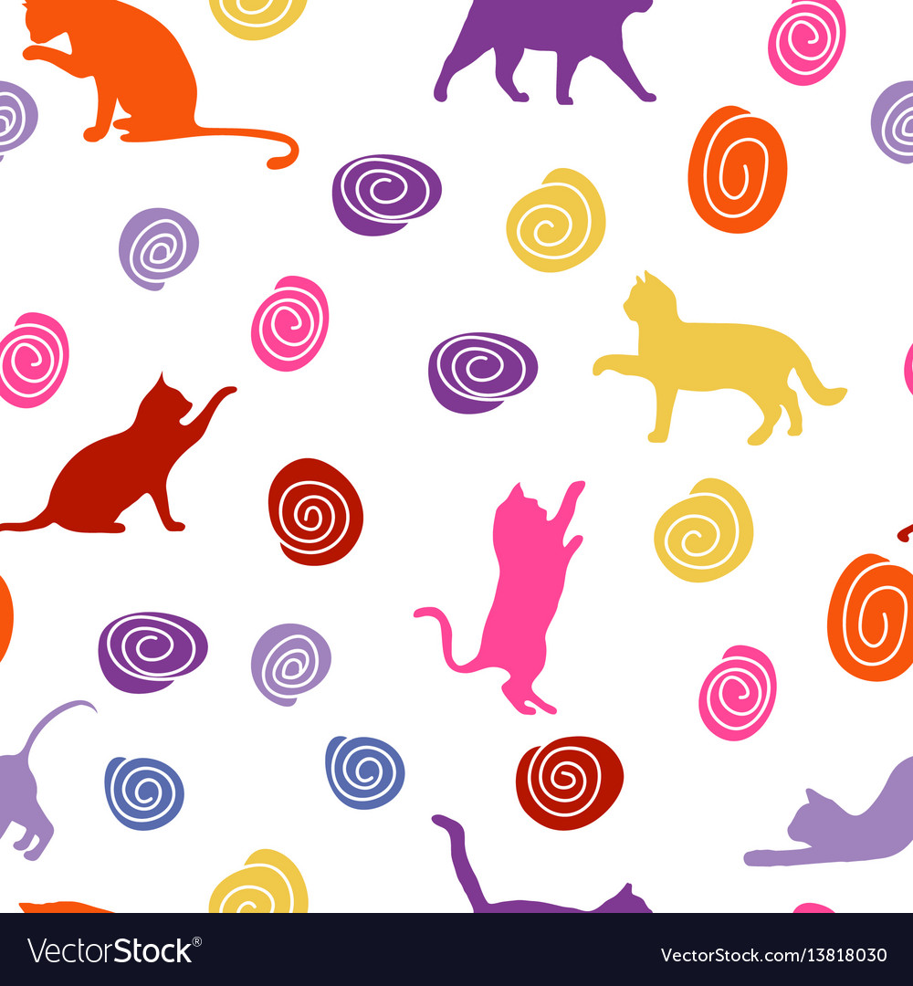 Cats and balls seamless baby background with