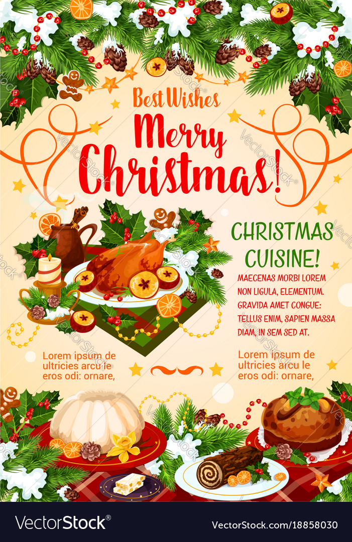Christmas cuisine poster with new year dinner