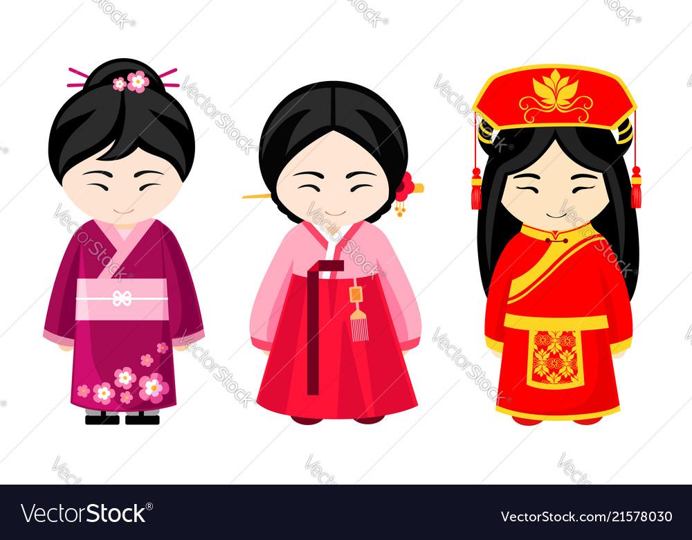 Cute asian girls in national dress