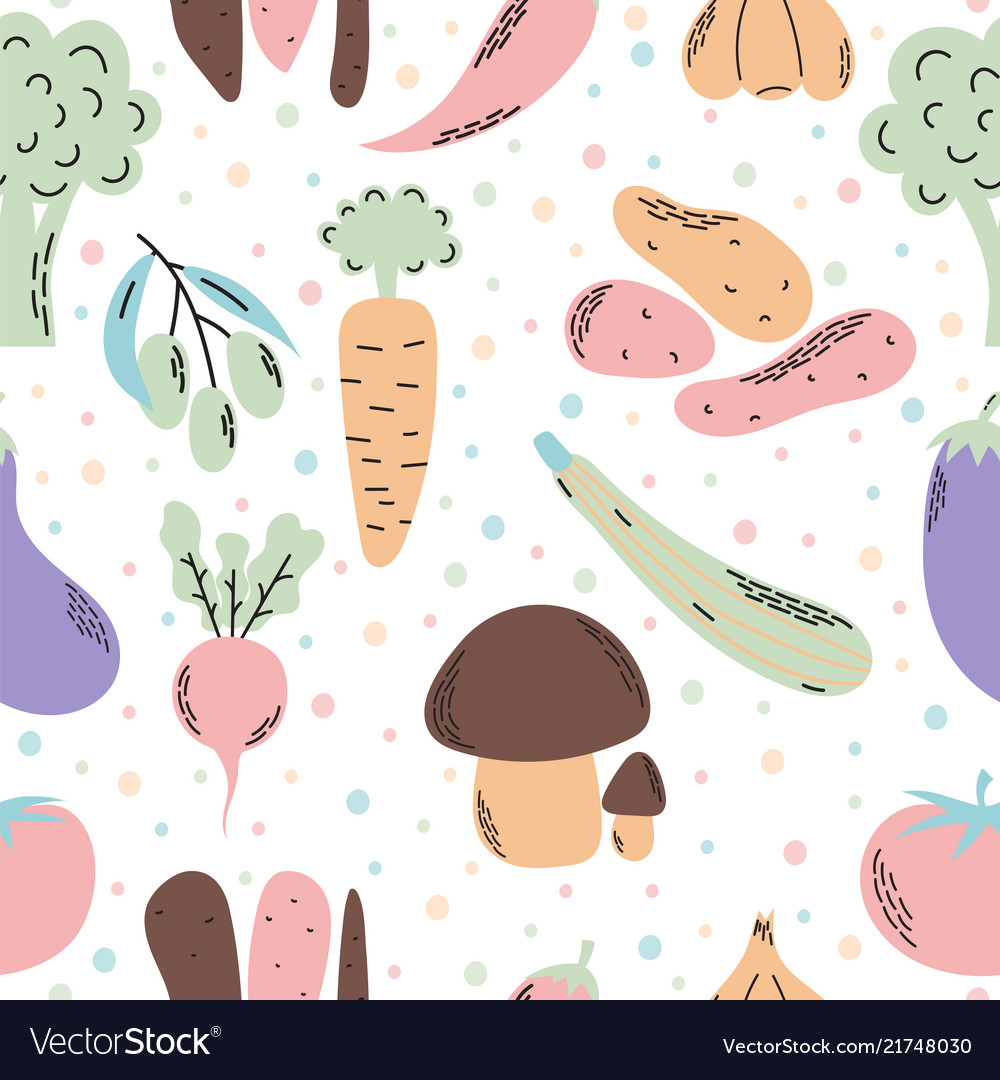 Cute seamless pattern with vegetables colorful
