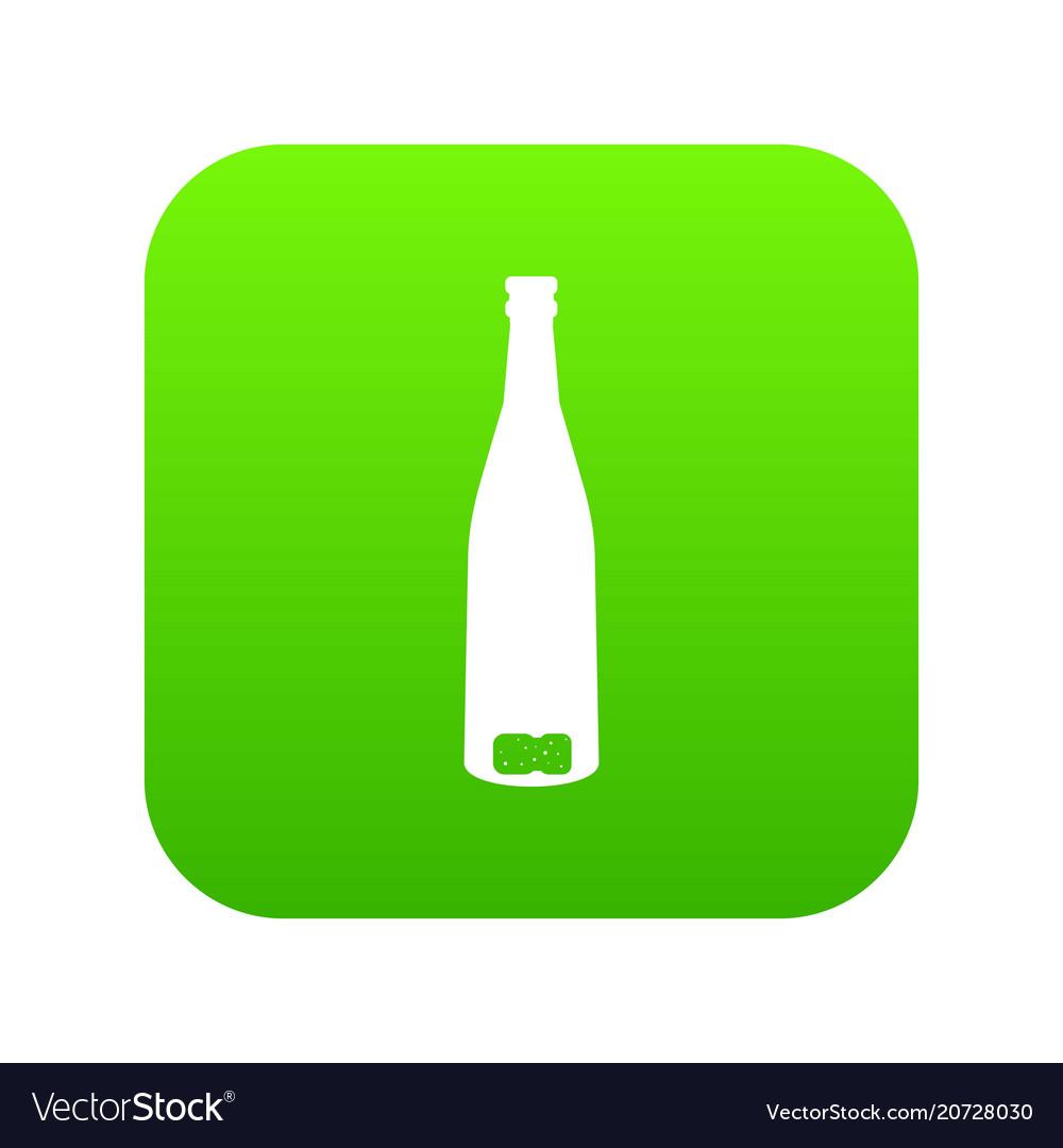 Empty wine bottle icon digital green