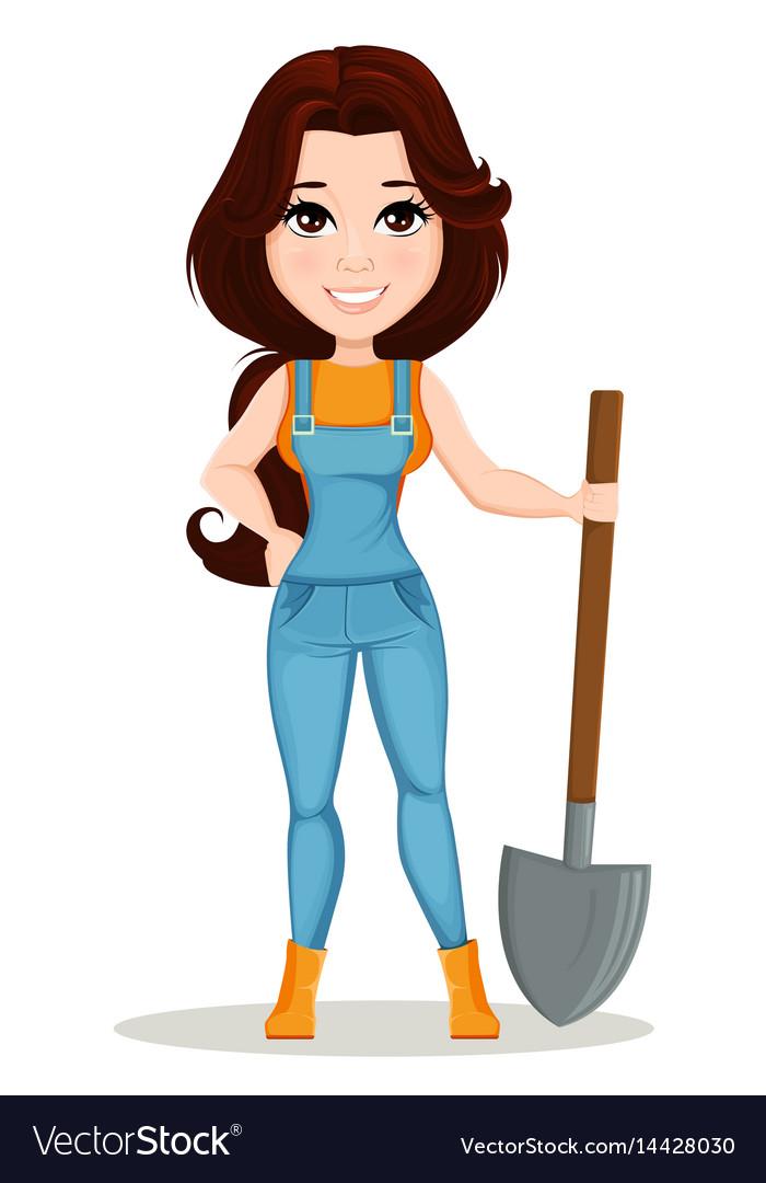 Farmer girl dressed in work jumpsuit cute cartoon Vector Image