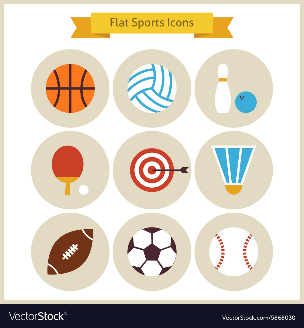 Flat Sport and Recreation Icons Set