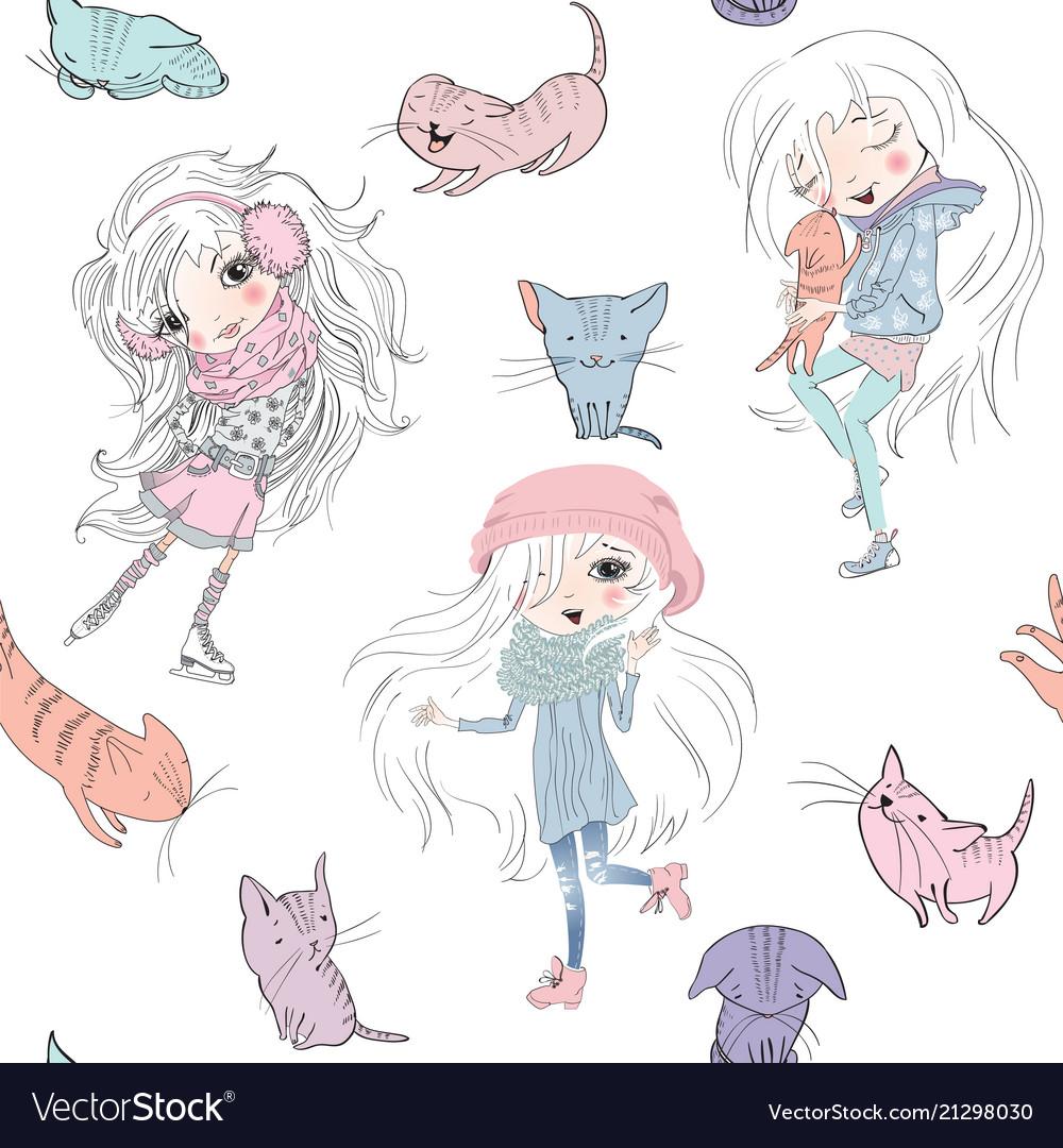 Girls and catss pattern