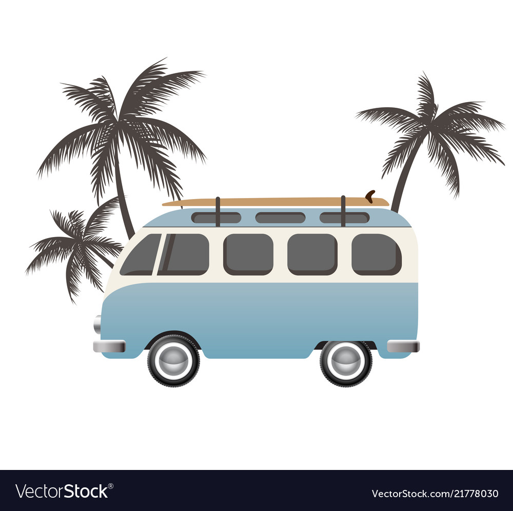 Hippie bus with surfboard
