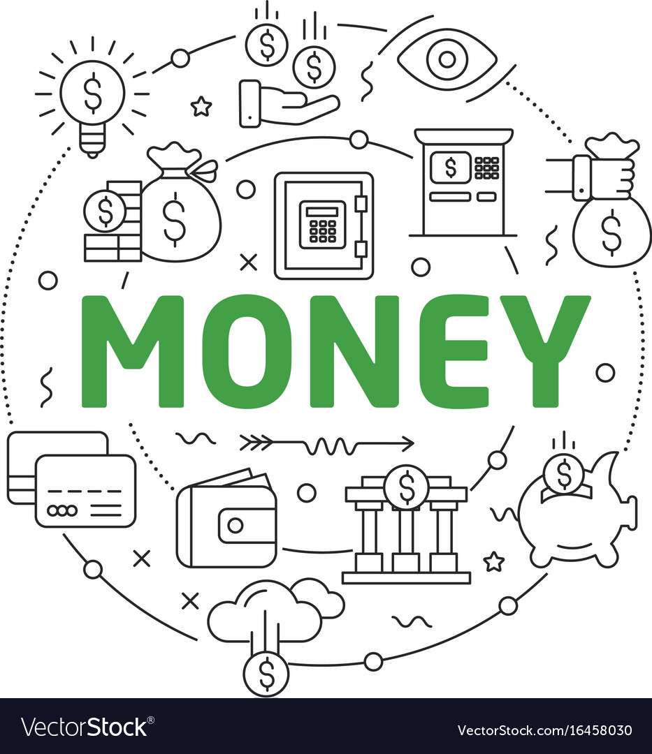 Line flat circle money vector image