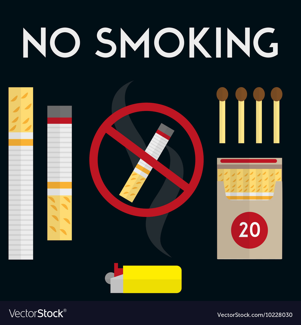 No smoking sign with cigarettes lighter and
