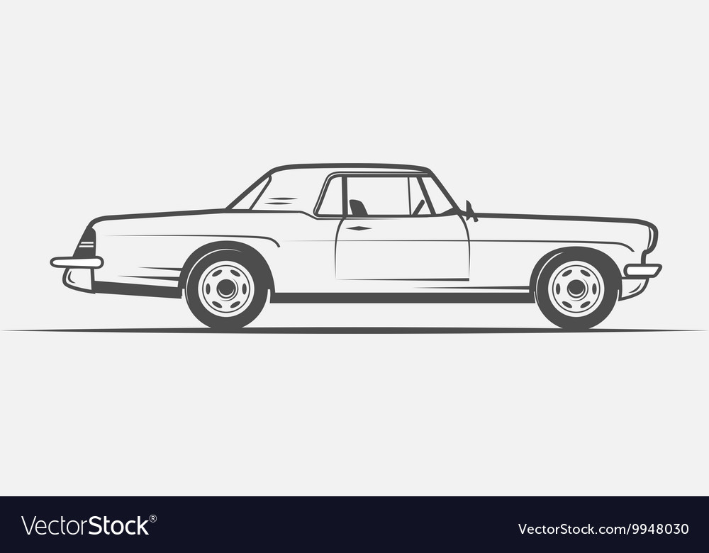 Old American car in vintage style Royalty Free Vector Image