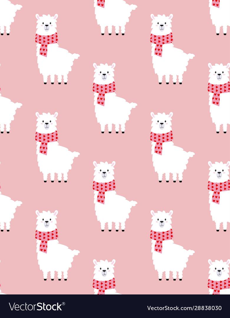 Pattern with cute llama valentine print