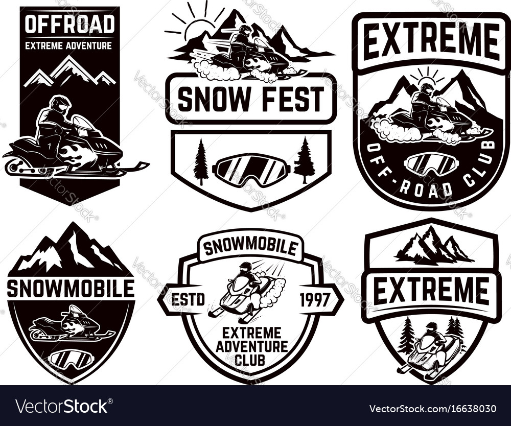 Set of snowmobile emblems isolated on white