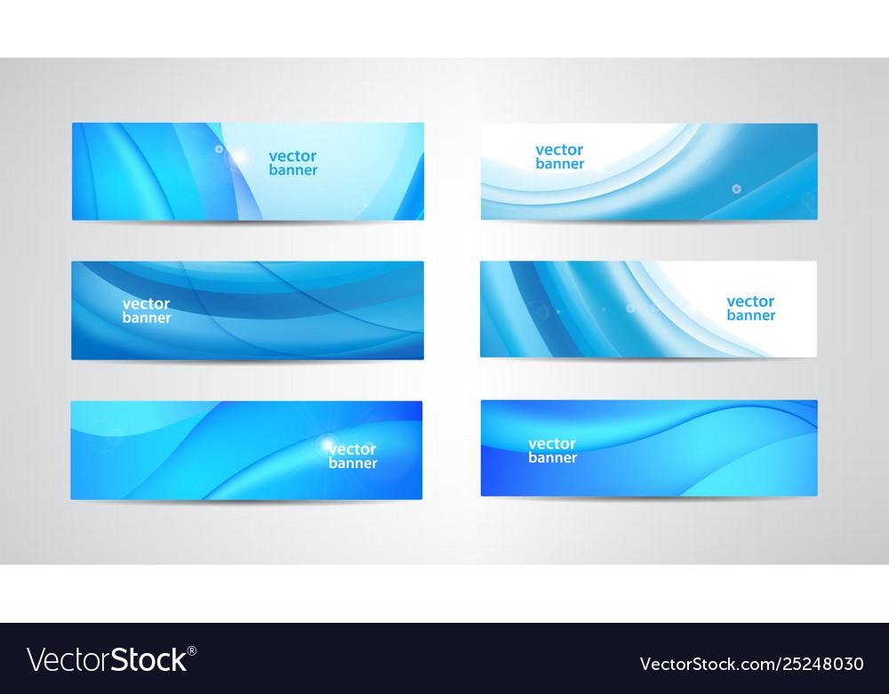 Set wavy banners blue wave web headers