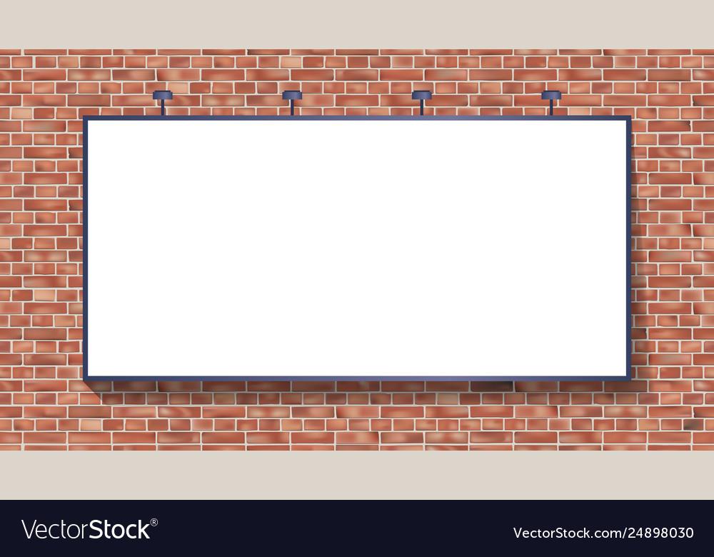 White billboard mockup on brick wall