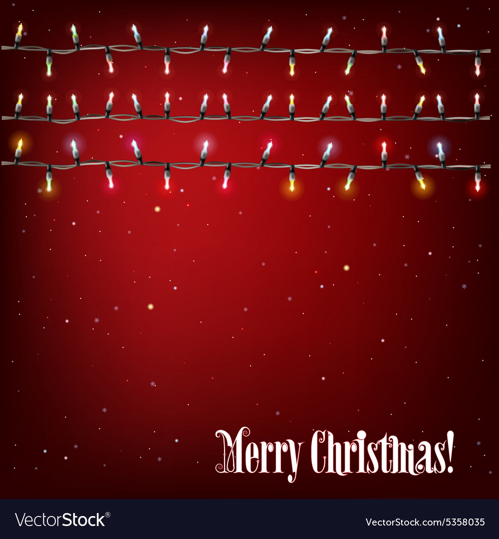 Abstract Background With Christmas Lights On Red