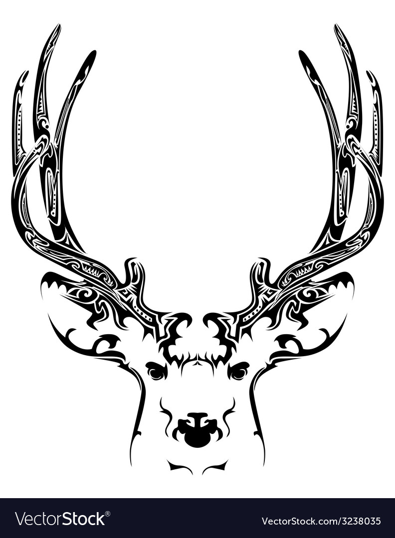 Abstract deer head tribal tattoo vector image