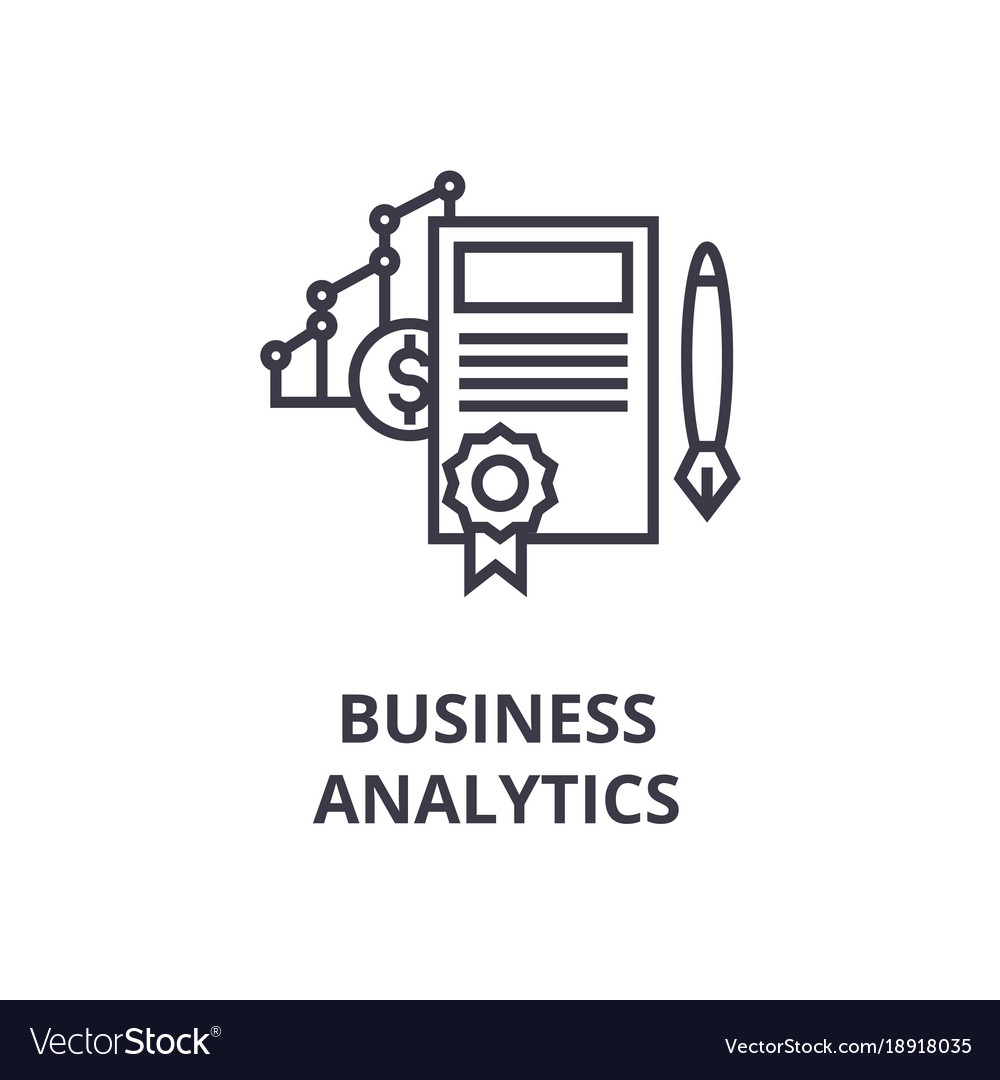 Business analytics line icon outline sign linear vector image