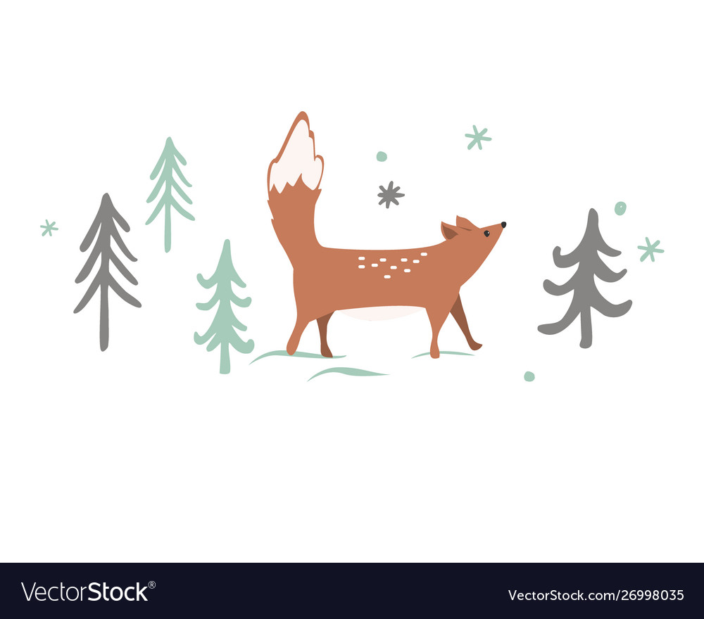 Christmas card background with winter forest