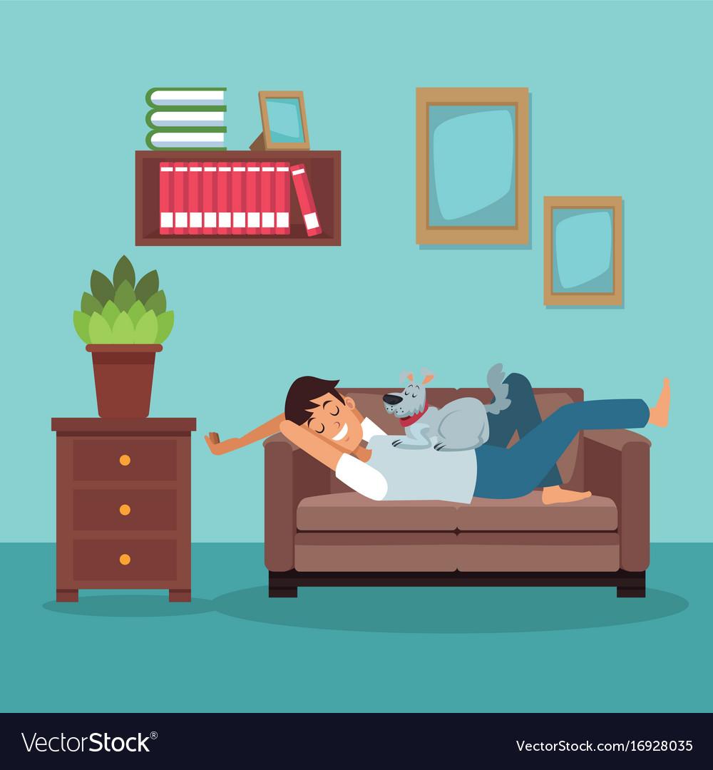 Colorful scene man sleep in sofa with dog pet