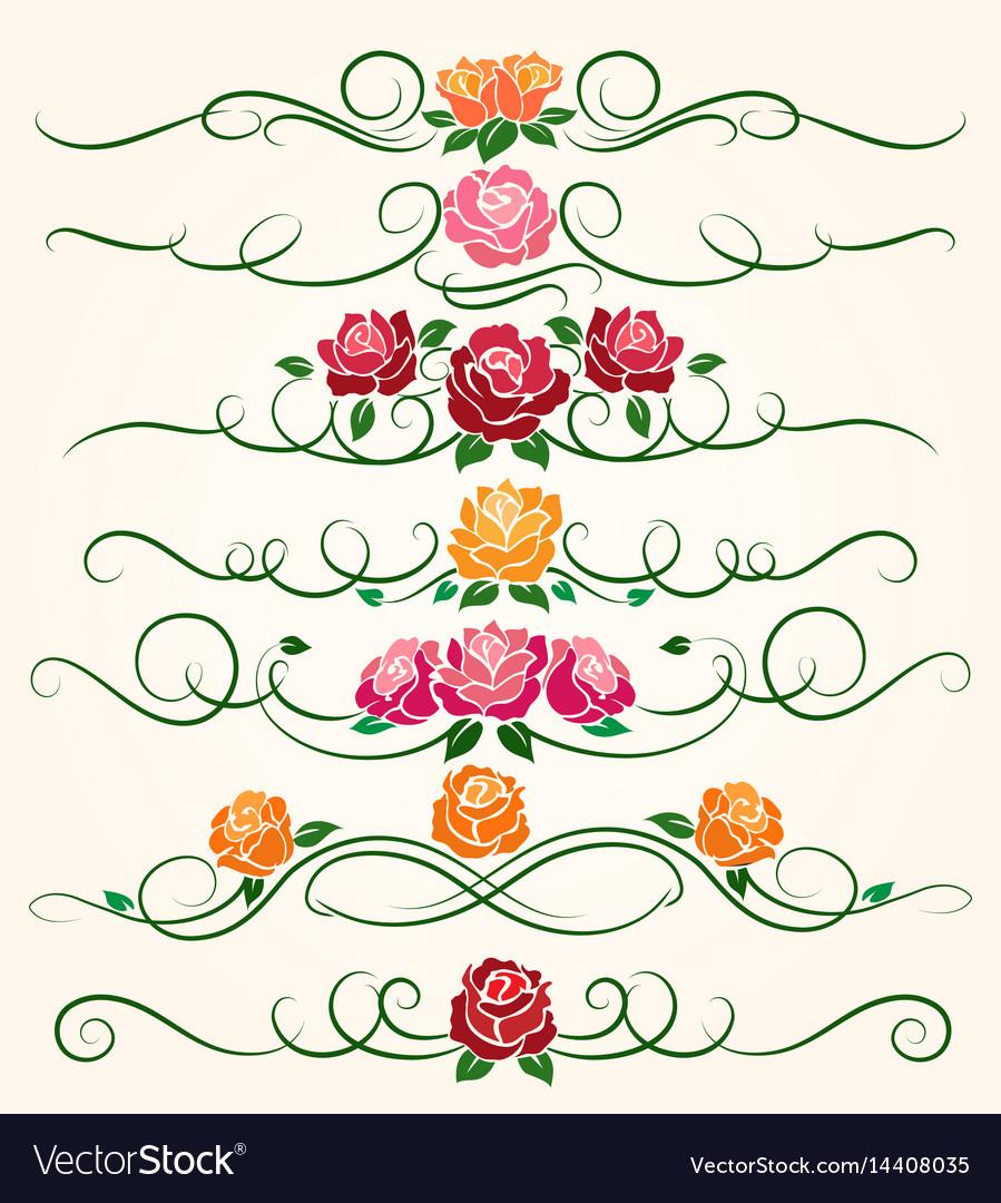 Decorative flourish rose flower dividers