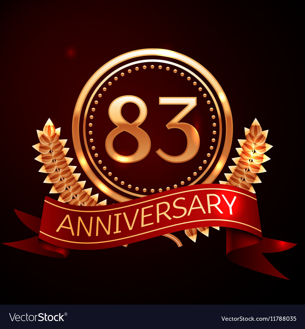 Eighty three years anniversary celebration with vector image