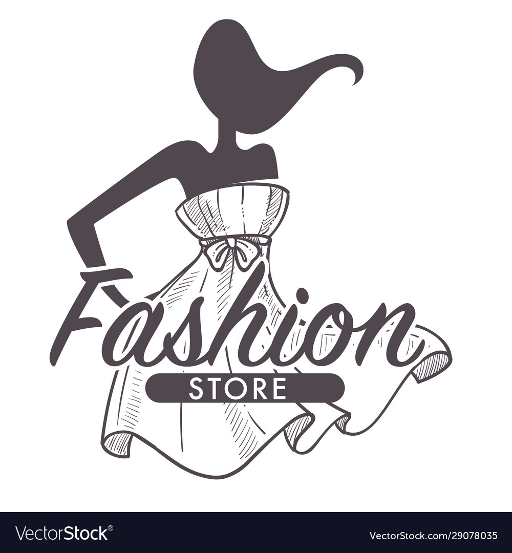 Fashion store or female clothes shop isolated