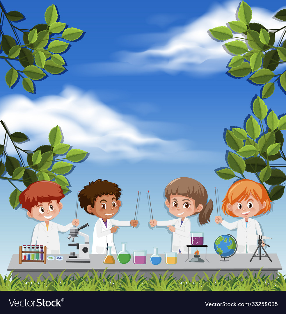 Kids wearing scientist costume on sky background