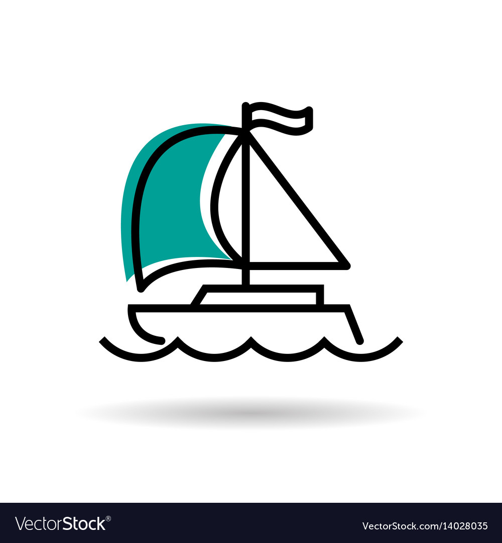 Line icon - yacht with sail and flag vector image
