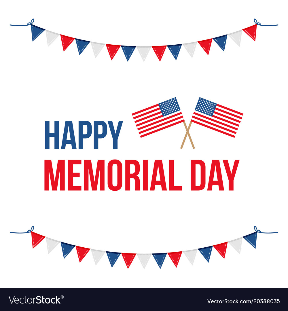 Memorial day card with national flag