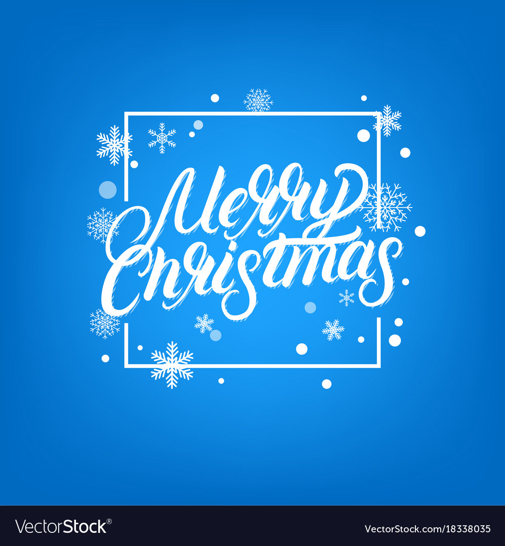 Merry christmas hand written lettering design vector image