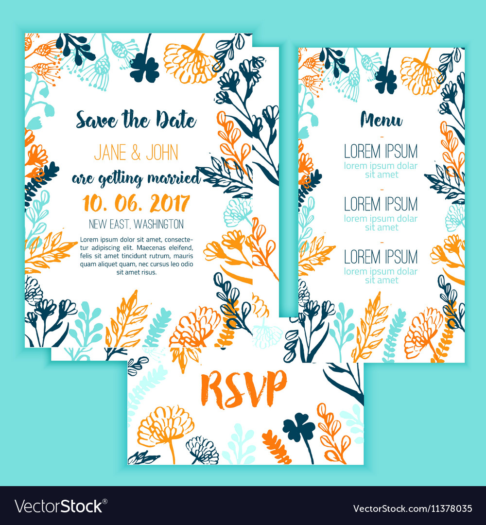 Save the Date card with Vintage floral frame menu