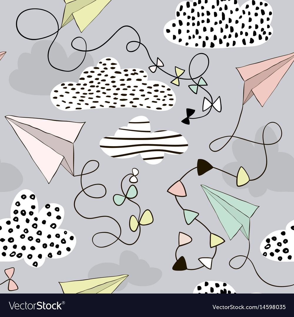 Seamless pattern paper airplanes and clouds hand