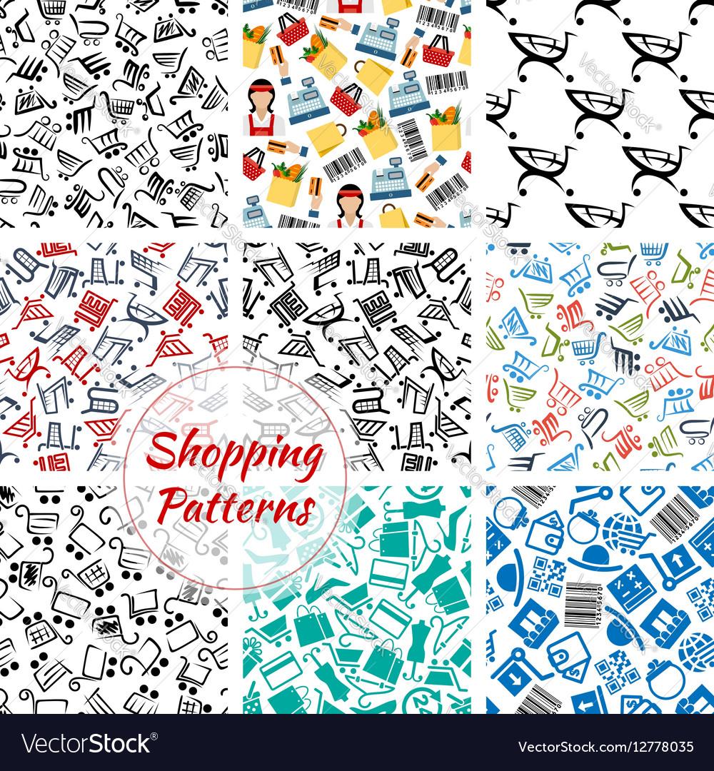 Shopping retail seamless patterns set vector image