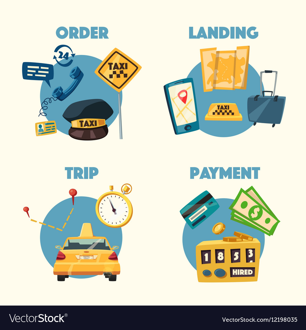 Taxi service Cartoon Trip and payment
