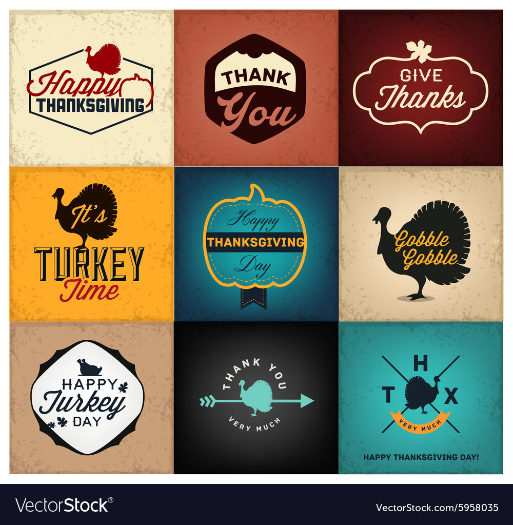 Thanksgiving Day Design Elements Cards Posters