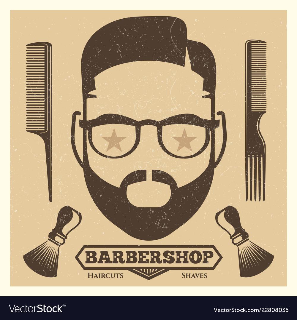 Vintage barbershop poster template fashion