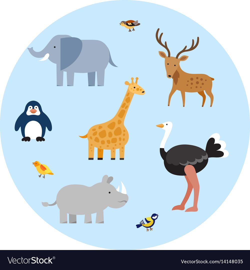 Zoo wild animals flat set Royalty Free Vector Image